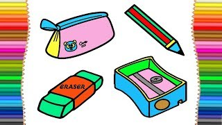 Drawing School materials for children  Art colors and coloring book