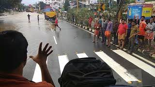 Kerala Flood 2018 : KSRTC Bus through flood water at Nedumbassery