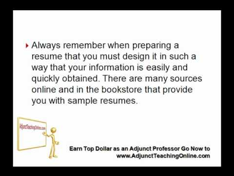 Example of a College Professor Resume - YouTube