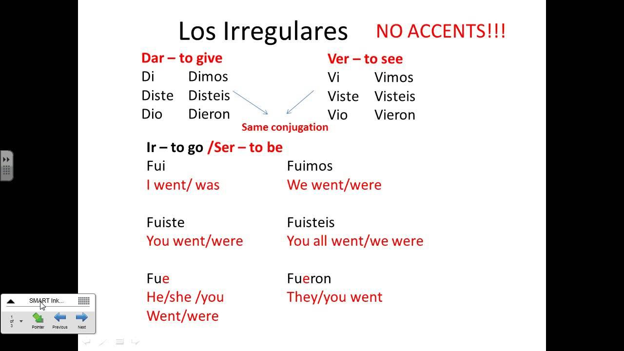 Irregular verbs preterite darver ir ser hacer notes also youtube rh