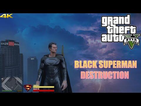 GTA 5 - BLACK SUPERMAN DESTRUCTION  Superman Black Suit Snyder Cut   Superman Mod