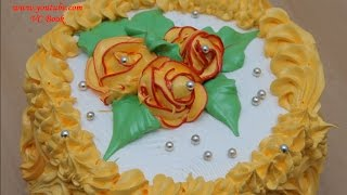 Торт с белковым заварным кремом | Украшение тортов | Розы из крема | Cake(Торт с белковым заварным кремом Чудо - корж / Корж для торта: https://youtu.be/JR8d9GU10Ys. Белковый Заварной..., 2016-02-15T18:57:34.000Z)