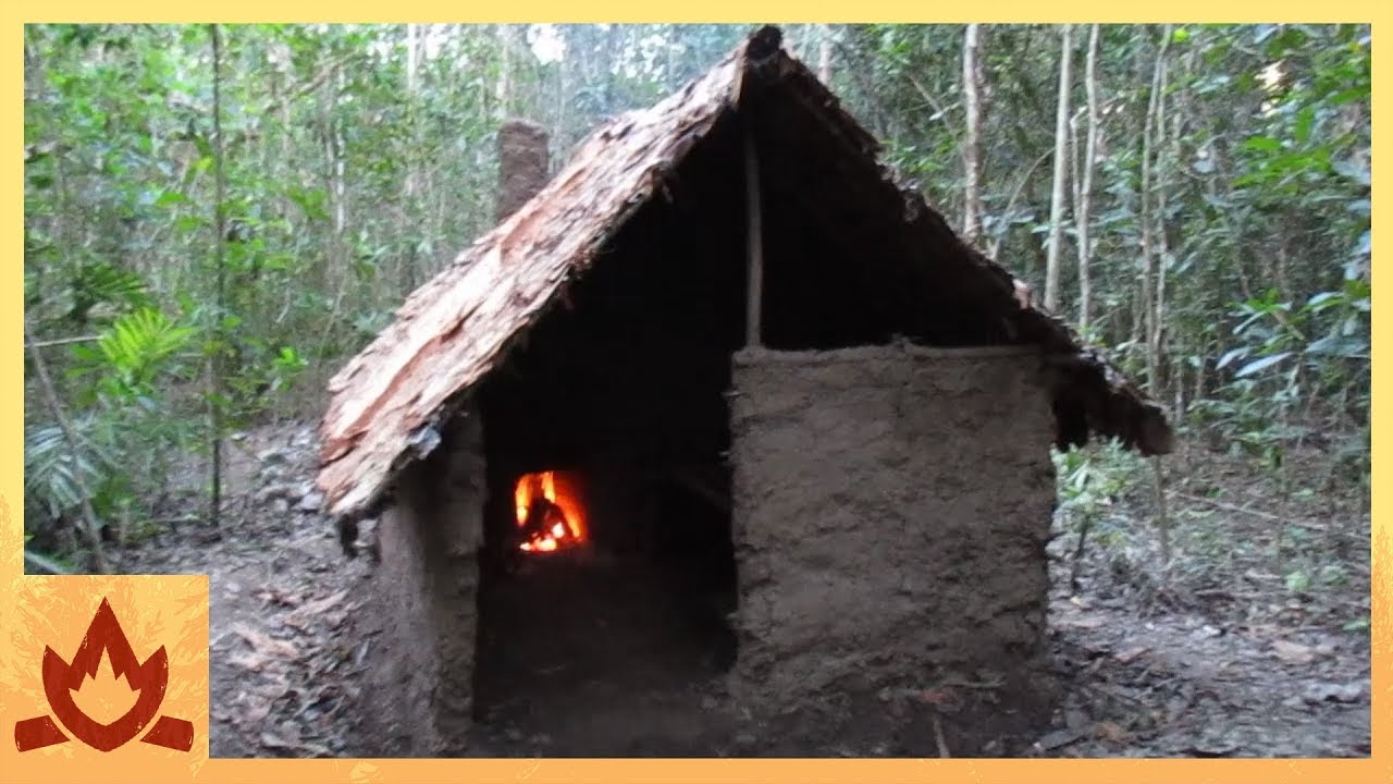 Primitive technology wattle and daub hut youtube for Making hut with waste material