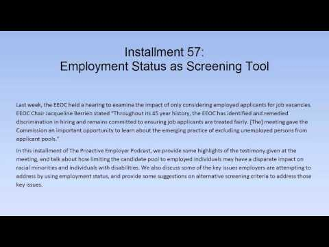Using Employment Status as a Candidate Screening Tool