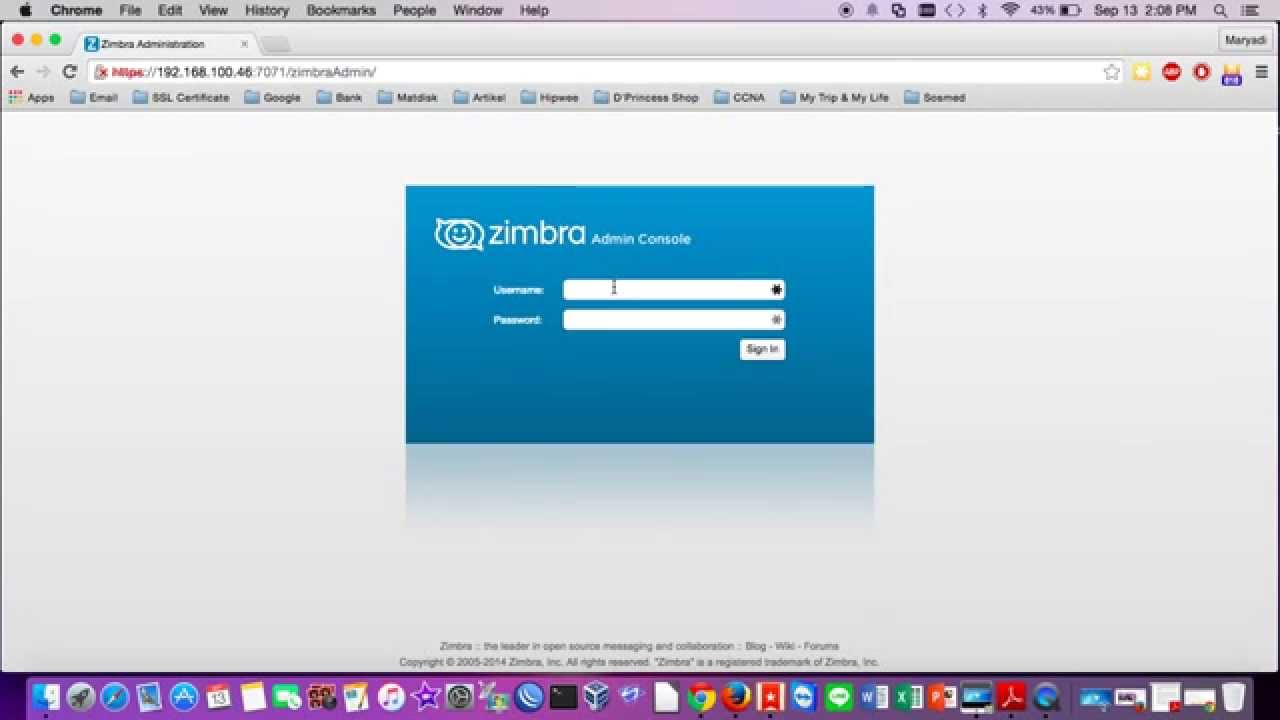 Change Security Password on Zimbra Mail Server