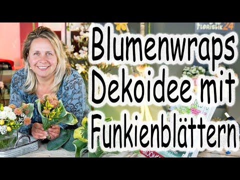 Kleine Blumenwraps mit Funkienblättern | Tischdeko mit Blumen | Flower Wraps | Floristik24