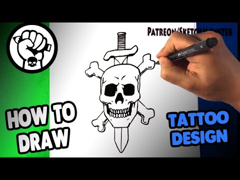 How to Draw AMAZING Skull Sword Drawing - Draw Tattoo Art - Drawing Step by Step for Beginners