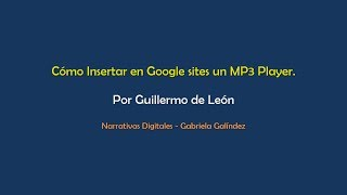 Insertando un MP3 Player en Google Sites