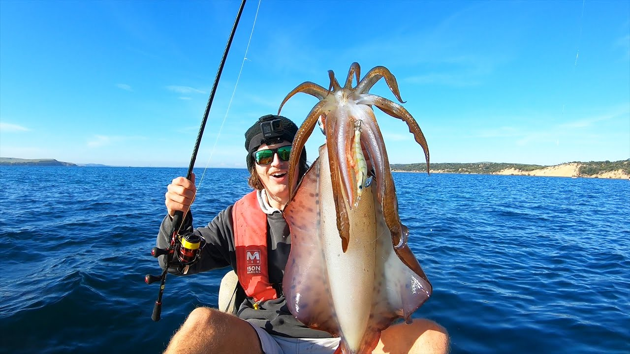 Thought I Was SNAGGED!! Kayak Fishing For GIANT Squid! (New PB)