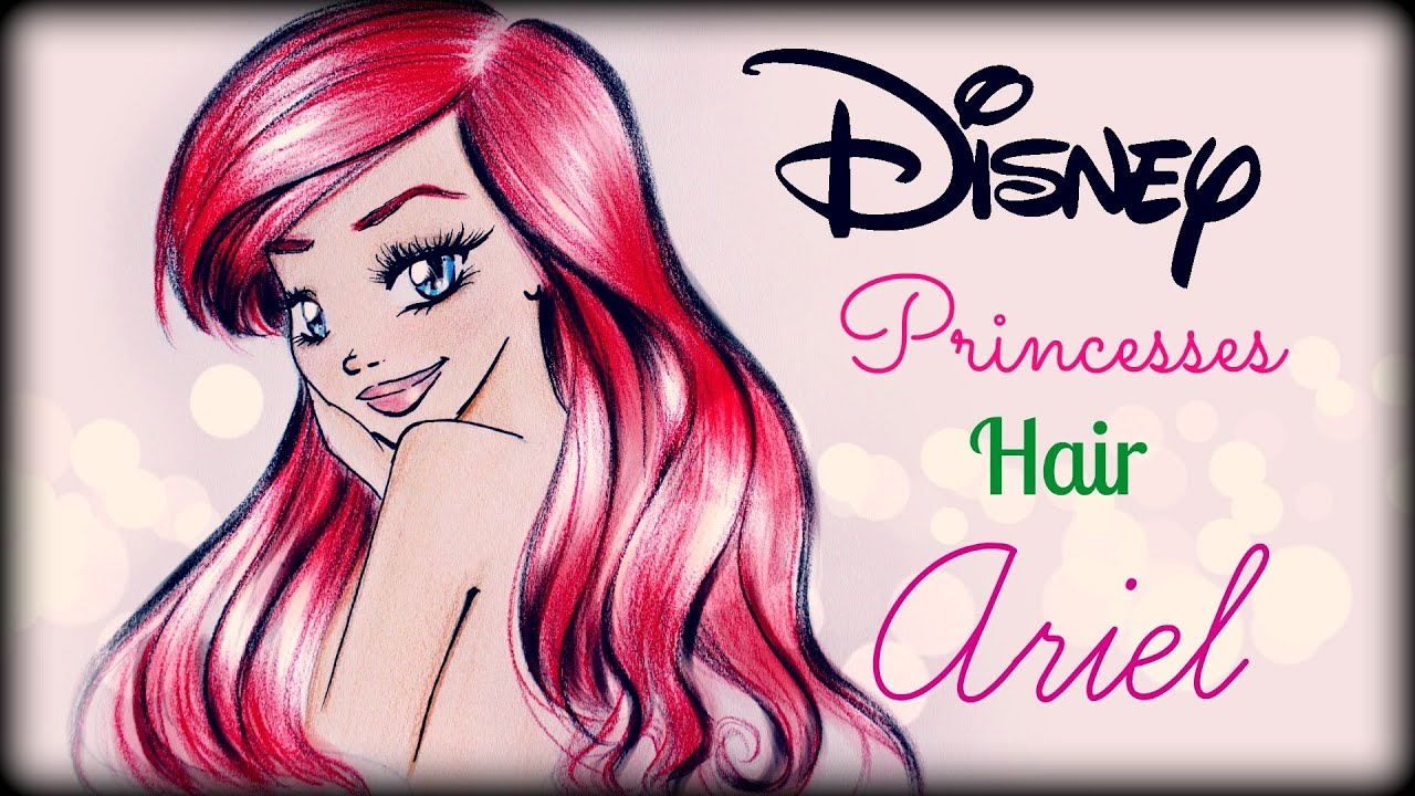 How to draw and color Disney Princesses Hair Ariel - YouTube