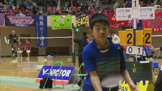 小山内 康晴(南北海道)vs 佐々木 大樹(新潟)6年1回戦 全国小学生バド2016