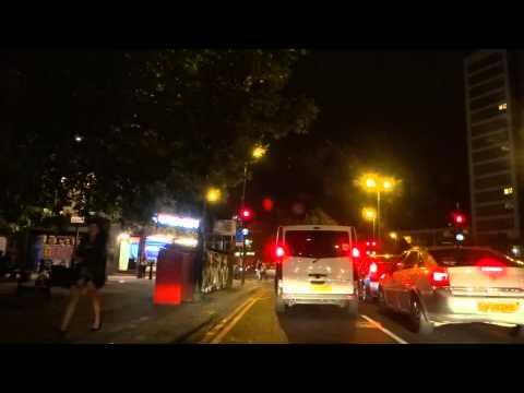 Night time car drive from Maidstone, Kent to Camden, London (reaching London nightlife at 53m & 30s)