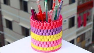 কাগজ দিয়ে খুব সুন্দর 'কলমদানি' বানানো শিখুন ! How to Make a Beautiful and Stylish Paper Pen Stand