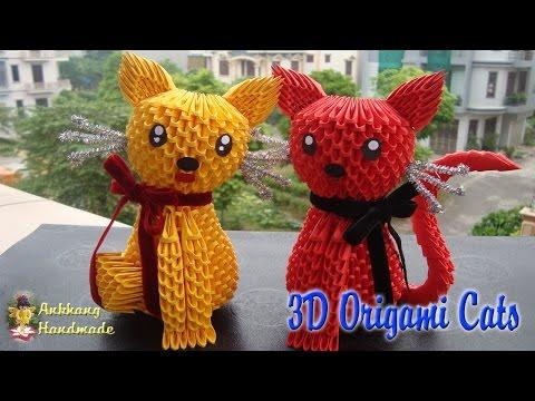3D ORIGAMI CATS | PAPER CATS HANDMADE DECORATION