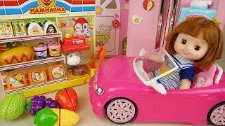 Baby Doli and Mini mart and pink car toys baby doll play