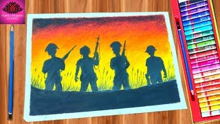 How to draw Republic Day drawing for beginners with Oil Pastels - step by step (very easy)