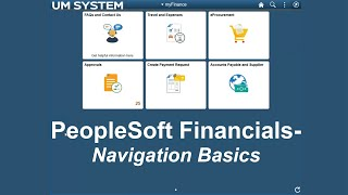 Peoplesoft financials is the university's tool for finance-related transaction processing systemwide. this instructional video highlights navigation basi...