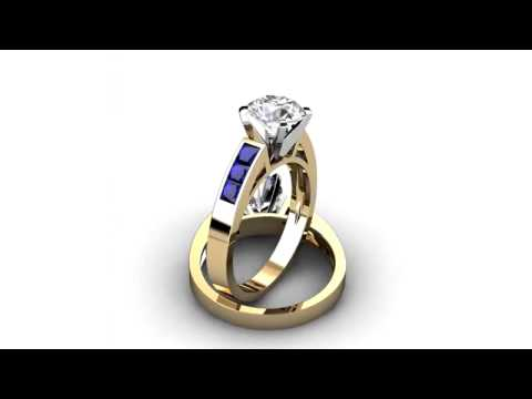 Princess Cut Blue Sapphire Engagement Ring