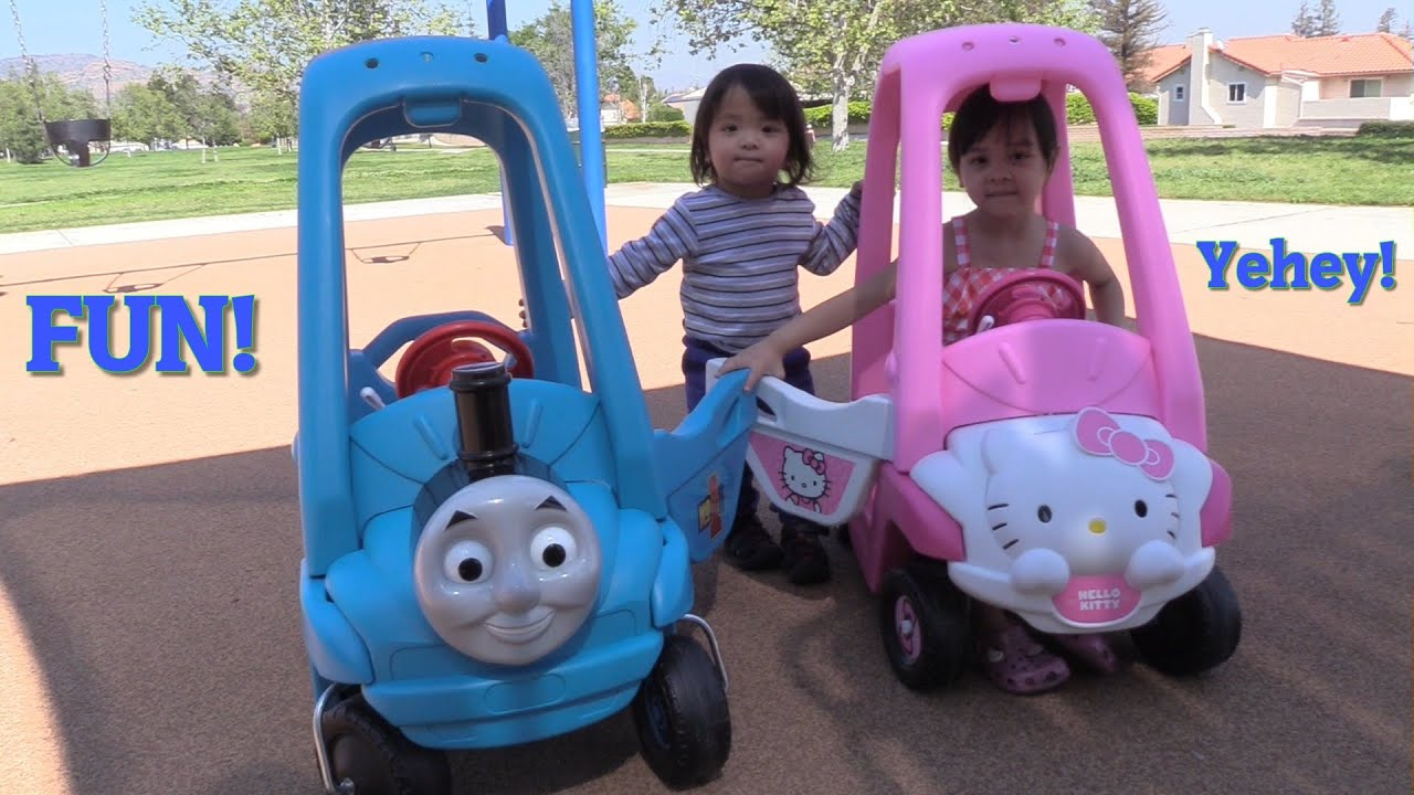 hello kitty ride on car and thomas the tank engine ride on train playtime w the kids youtube