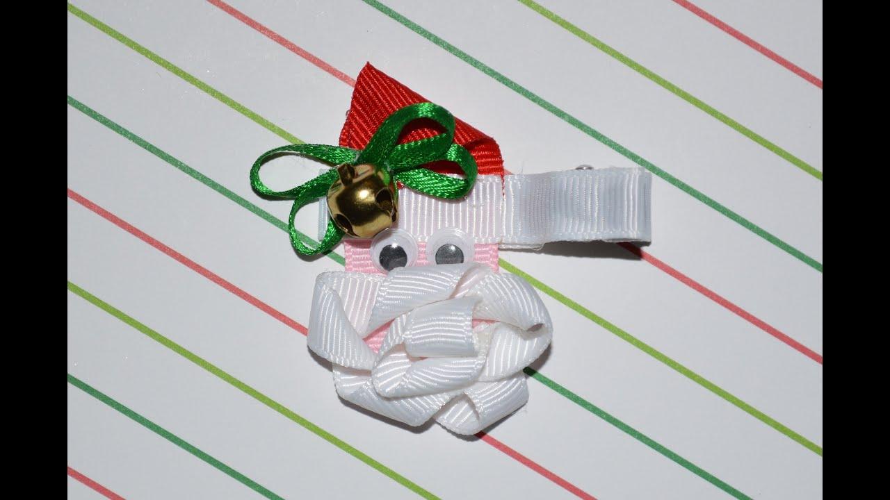 SANTA CLAUS Ribbon Sculpture Christmas Holiday Hair Clip