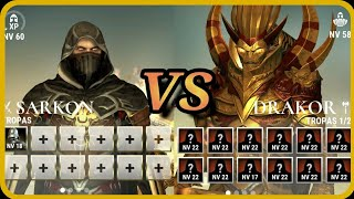 Sarkon lvl 60 vs Drakor lvl 60 ¦ AL SEGUNDO INTENTO!! ¦ Dawn of titans ¦ 8DAMIAN8