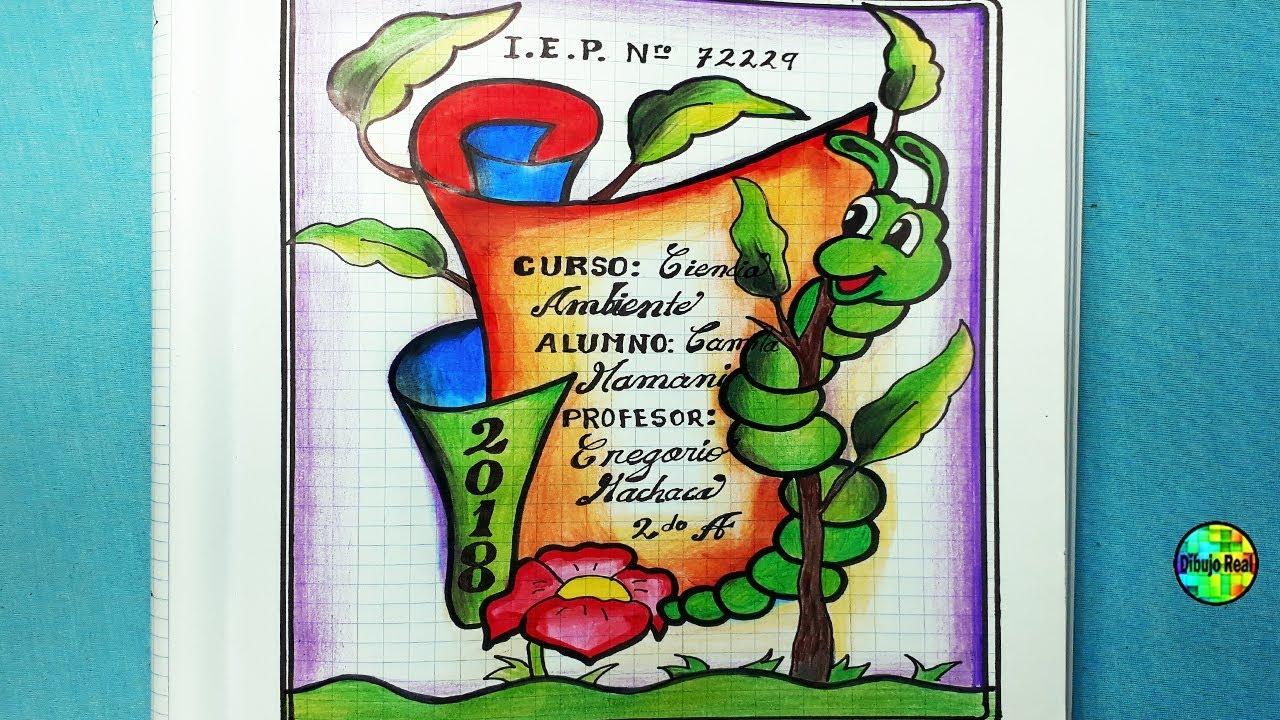 Dibujos Para Portadas De Cuaderno: CARATULAS ESCOLARES CARATULA SENCILLA LINEAS