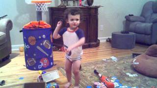 Connor doing the potty dance in his big boy undies