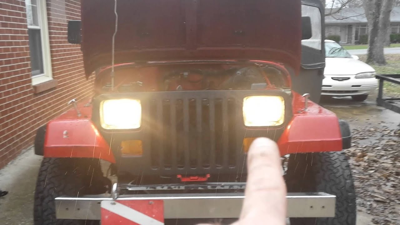 Jeep Wrangler Headlight Upgrade Yj Getting A Relay Harness Installed Youtube