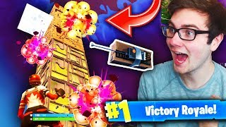 *NEW* C4 WIN IN Fortnite: Battle Royale! (HUGE Tower BLOWN UP By Remote Explosives!)