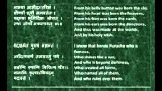 Rig Veda Full Purusha Suktam Devanagari Sanskrit English translations wmv