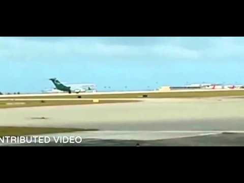 Stabilized Asia Pacific Airlines emergency landing footage from Guam