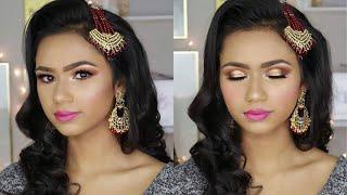 Desi Bridal Makeup   Bronze Smokey Eyes with Magenta Lips   Bangladesh, India, Pakistan 