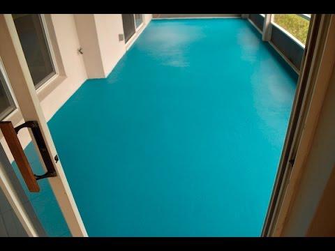 Diy Turquoise Concrete Patio Floor Youtube
