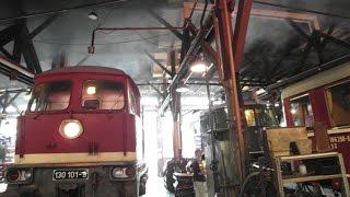 Ludmilla BR 130 nebelt Lokschuppen ein, Rauchpilz + Drehscheibe