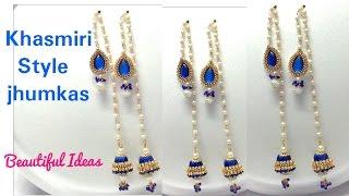 How to Make Silk thread Designer Jhumkas//Khasmiri Jhumkas Style Earrings at Home..Tutorial