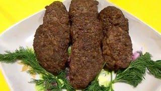 Котлеты из печени и мяса.  Мясные блюда