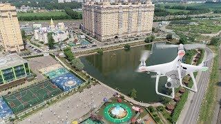 4K. Flight over the village of the Lenin State Farm. Moscow region, Leninsky district.