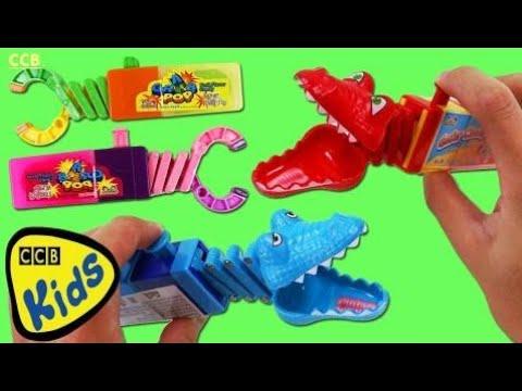 Kidsmania GATOR CHOMPS Lollipops & GRAB POP Candy Brinquedos!   CCB