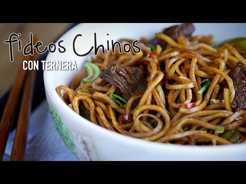 Fideos Chinos Fritos con Ternera (Lo Mein de ternera) - Chinese Beef Lo Mein l Kwan Homsai