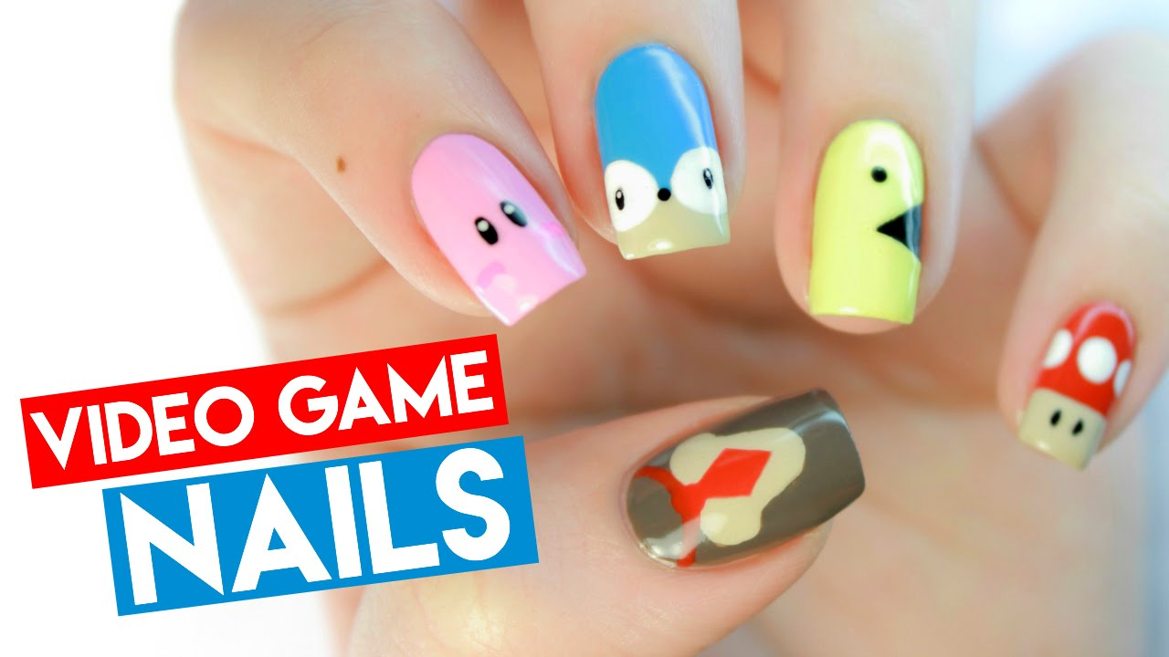 Classic Video Game Nail Art - YouTube
