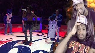 WHO LIP SINGS PANDA!?? DESIIGNER GETS BOOED OFF THE COURT AT 76ERS HOME OPENER REACTION!!