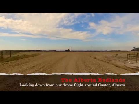 Flying Over the Badlands near Castor, Alberta