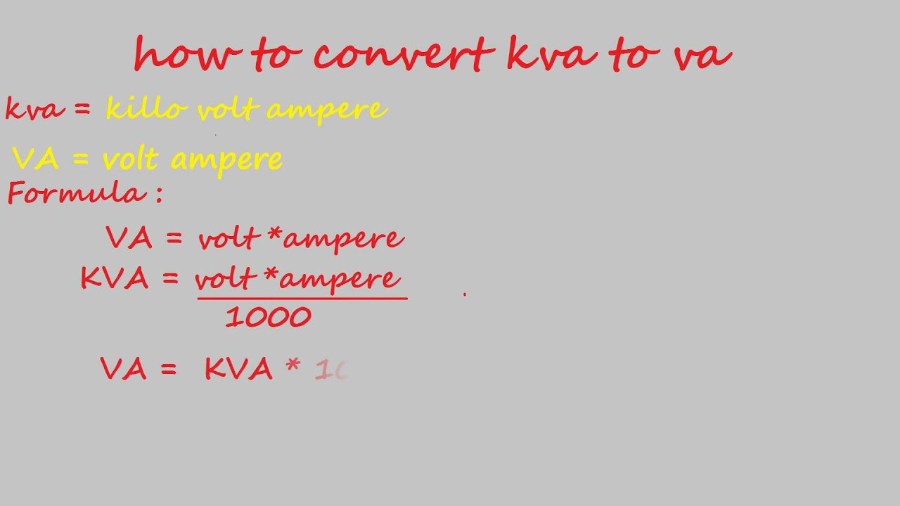 How to convert kva to va electrical calculation youtube geenschuldenfo Choice Image