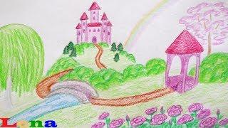 Schloß zeichnen 🏰 Landschaft malen 🌈 How to draw a princess castle 🌹 Landscape scenery drawing
