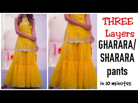 DIY : Three Tiered Gharar/Sharara Cutting And Stitching || Gharara EASY Making||Latest Sharara Dress