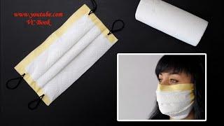 Маска для лица из кухонных салфеток DIY Маска без шитья DIY Face Mask