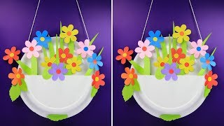 How to make a beautiful paper flower wall hanging with one time plate | Wall decoration ideas