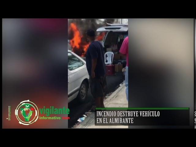 Incendio destruye vehículo en El Almirante