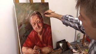 Портрет пожилого мужчины в один сеанс. Живопись маслом. Portrait of the elderly man. Alla prima