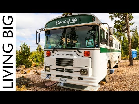 Young Family Live In Beautiful Converted School Bus To Travel North America